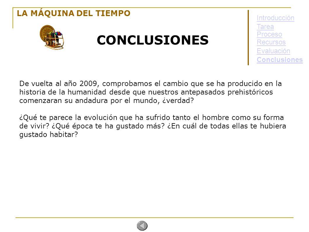 CONCLUSIONES LA MÁQUINA DEL TIEMPO Introducción Tarea Proceso Recursos