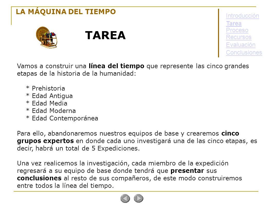 TAREA LA MÁQUINA DEL TIEMPO Introducción Tarea Proceso Recursos