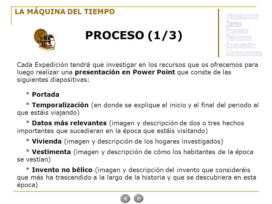 PROCESO (1/3) LA MÁQUINA DEL TIEMPO Introducción Tarea Proceso
