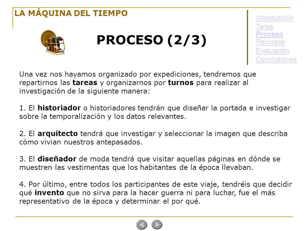 PROCESO (2/3) LA MÁQUINA DEL TIEMPO Introducción Tarea Proceso