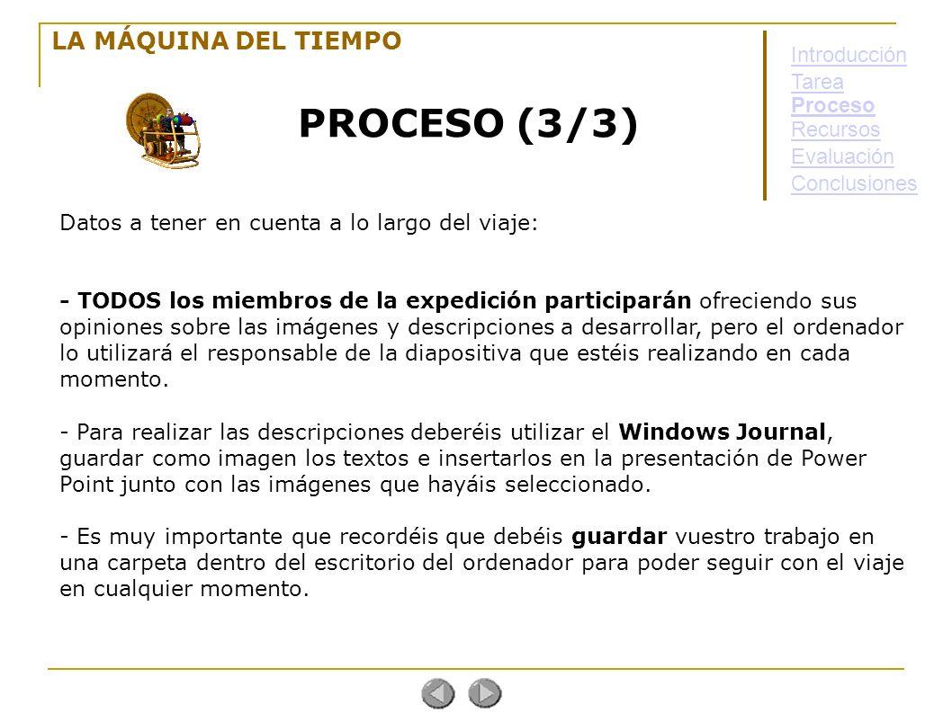 PROCESO (3/3) LA MÁQUINA DEL TIEMPO Introducción Tarea Proceso
