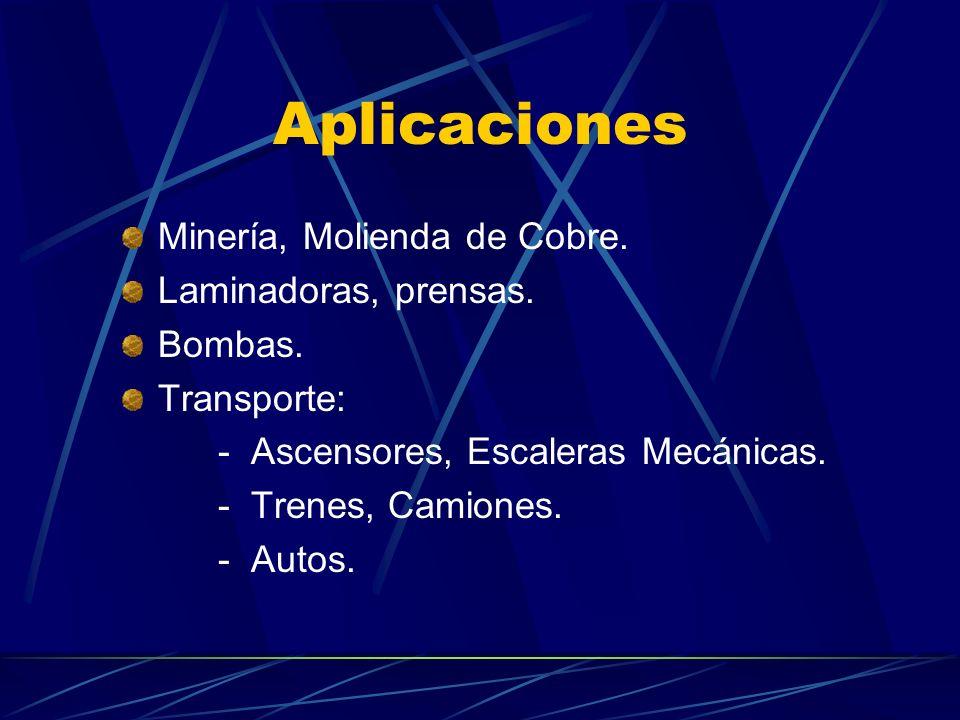 Aplicaciones Minería, Molienda de Cobre. Laminadoras, prensas. Bombas.