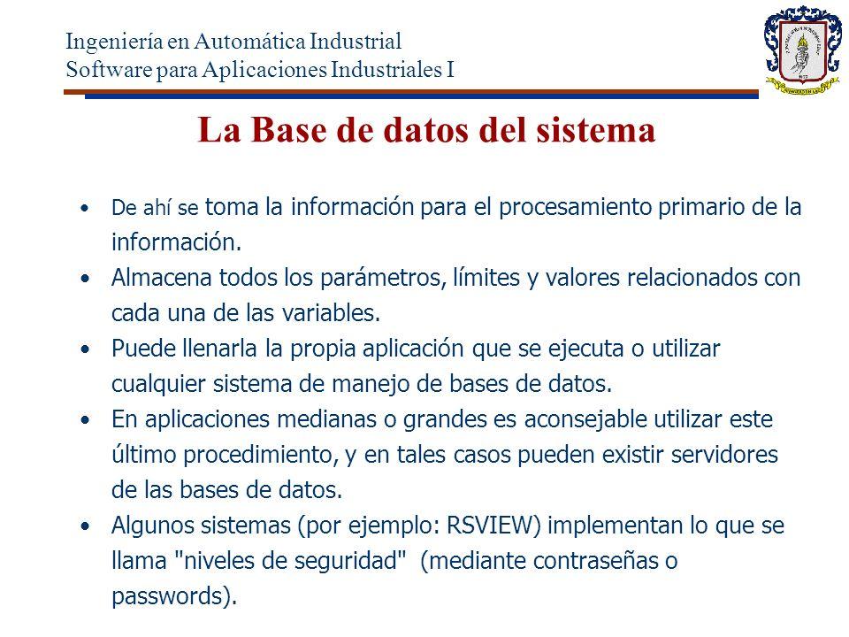 La Base de datos del sistema