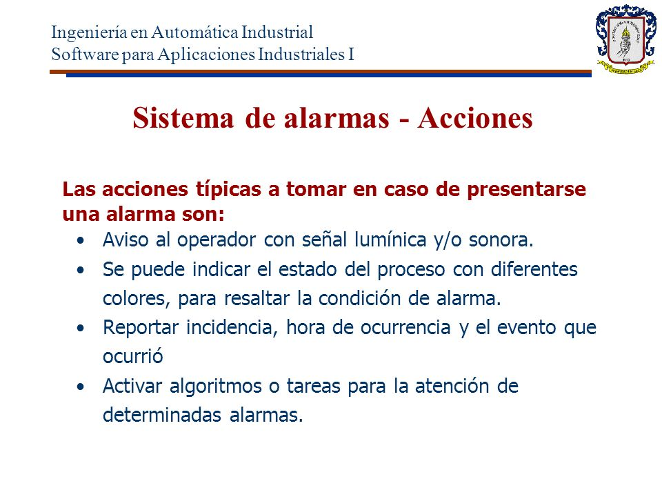 Sistema de alarmas - Acciones