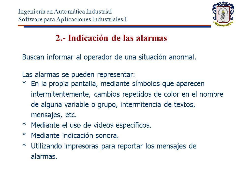 2.- Indicación de las alarmas