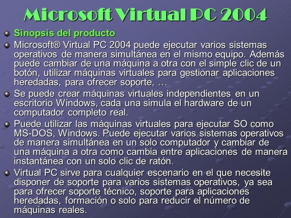 Microsoft Virtual PC 2004 Sinopsis del producto
