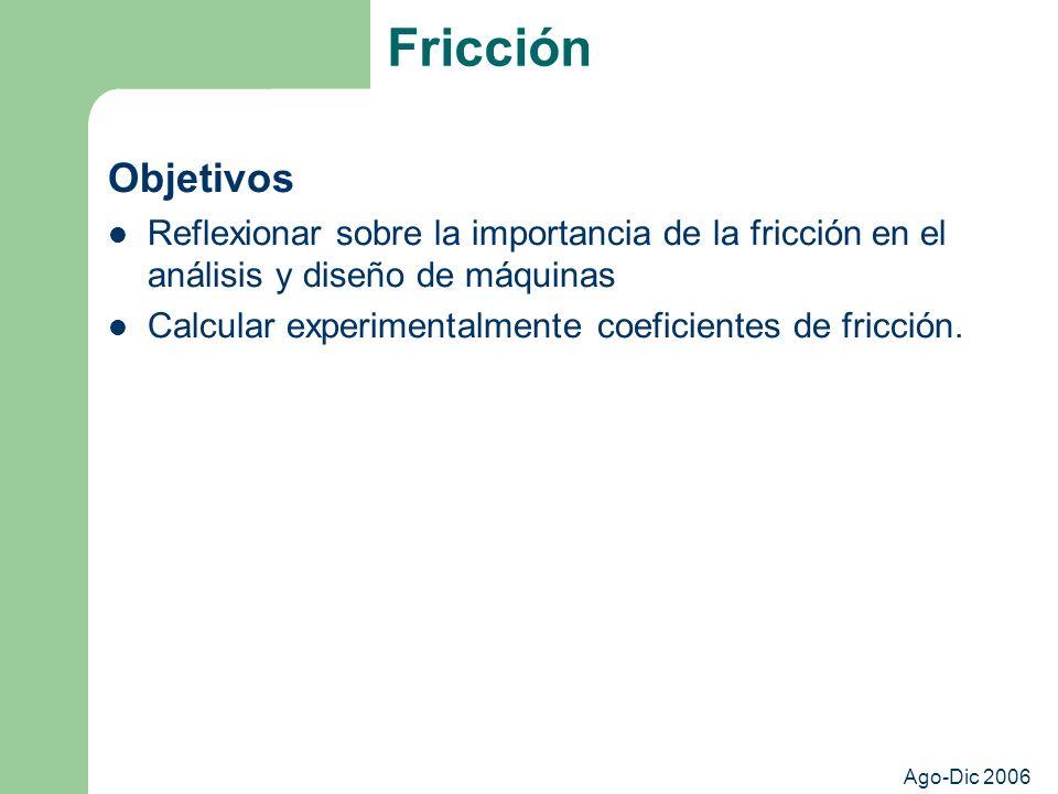 Fricción Objetivos. Reflexionar sobre la importancia de la fricción en el análisis y diseño de máquinas.
