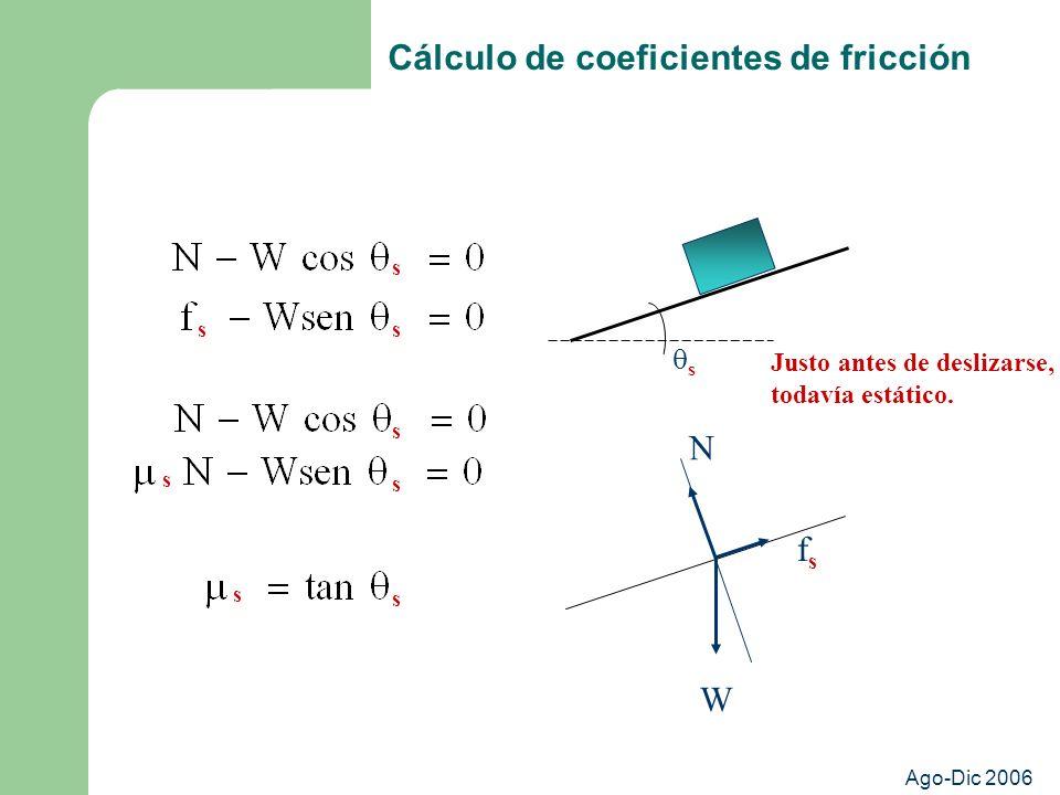 Cálculo de coeficientes de fricción