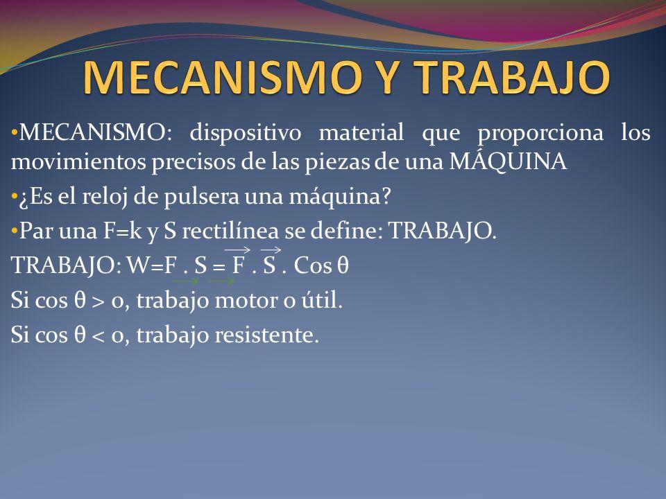 MECANISMO Y TRABAJO MECANISMO: dispositivo material que proporciona los movimientos precisos de las piezas de una MÁQUINA.