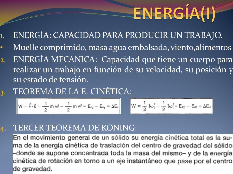 ENERGÍA(I) ENERGÍA: CAPACIDAD PARA PRODUCIR UN TRABAJO.