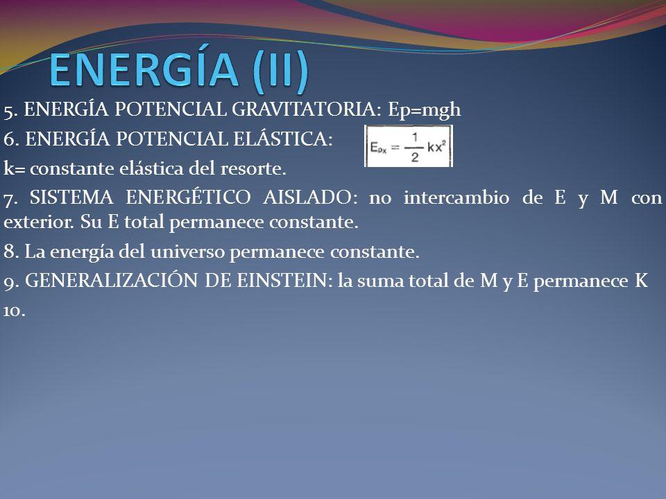 ENERGÍA (II) 5. ENERGÍA POTENCIAL GRAVITATORIA: Ep=mgh