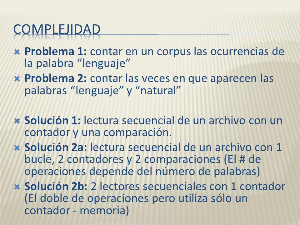 Complejidad Problema 1: contar en un corpus las ocurrencias de la palabra lenguaje