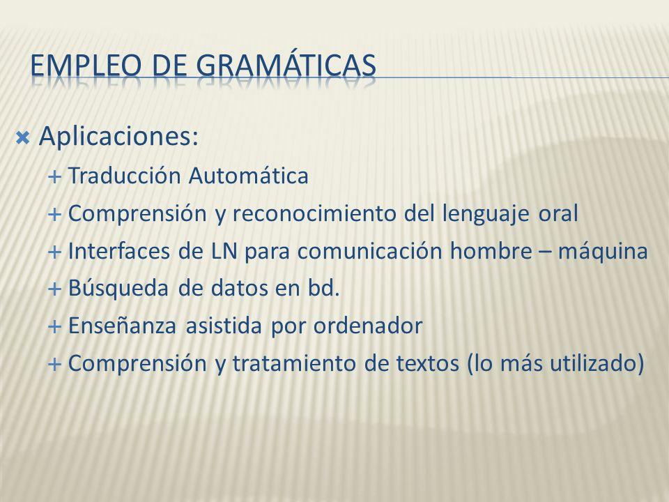 Empleo de gramáticas Aplicaciones: Traducción Automática