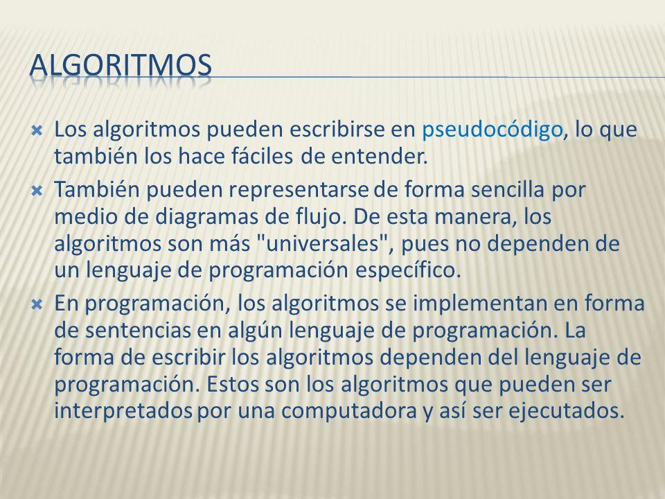 Algoritmos Los algoritmos pueden escribirse en pseudocódigo, lo que también los hace fáciles de entender.