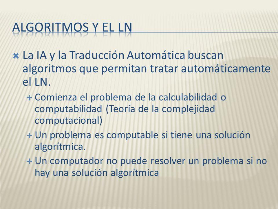 Algoritmos y el LN La IA y la Traducción Automática buscan algoritmos que permitan tratar automáticamente el LN.