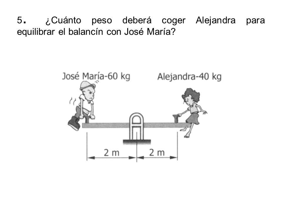 5. ¿Cuánto peso deberá coger Alejandra para equilibrar el balancín con José María