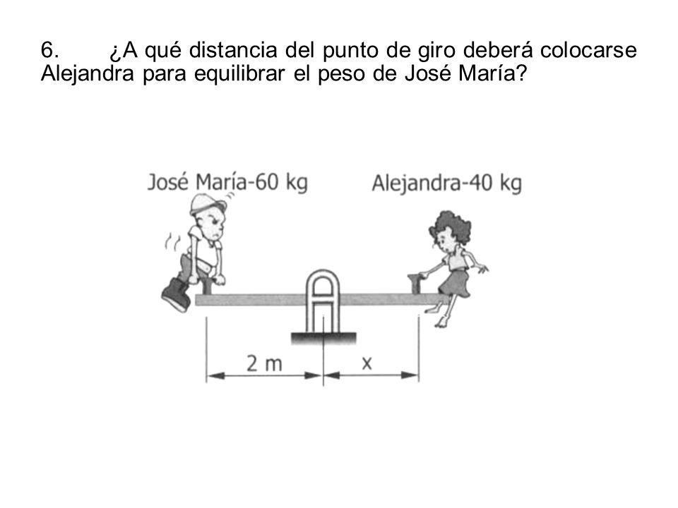 6. ¿A qué distancia del punto de giro deberá colocarse Alejandra para equilibrar el peso de José María