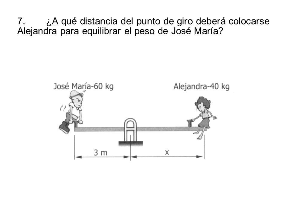 7. ¿A qué distancia del punto de giro deberá colocarse Alejandra para equilibrar el peso de José María