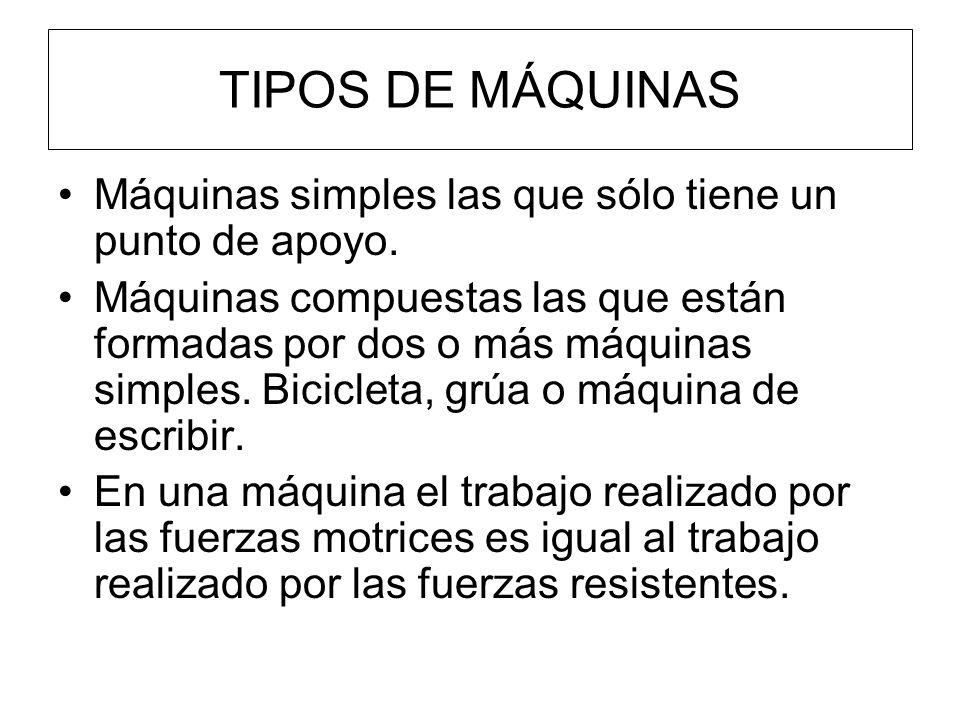 TIPOS DE MÁQUINAS Máquinas simples las que sólo tiene un punto de apoyo.