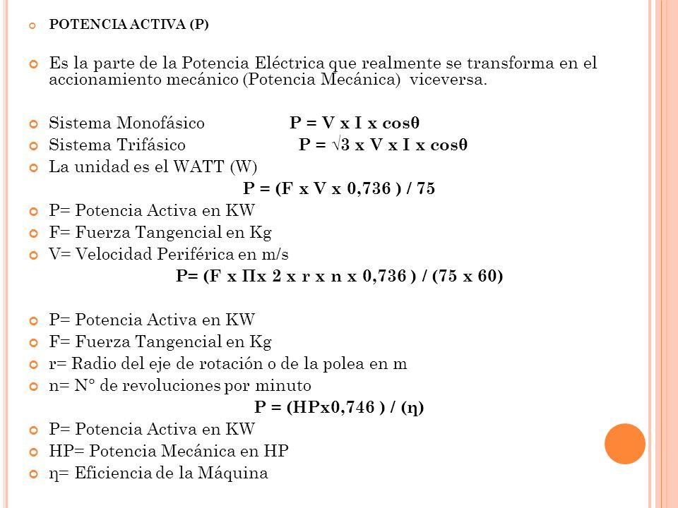 Sistema Monofásico P = V x I x cosθ