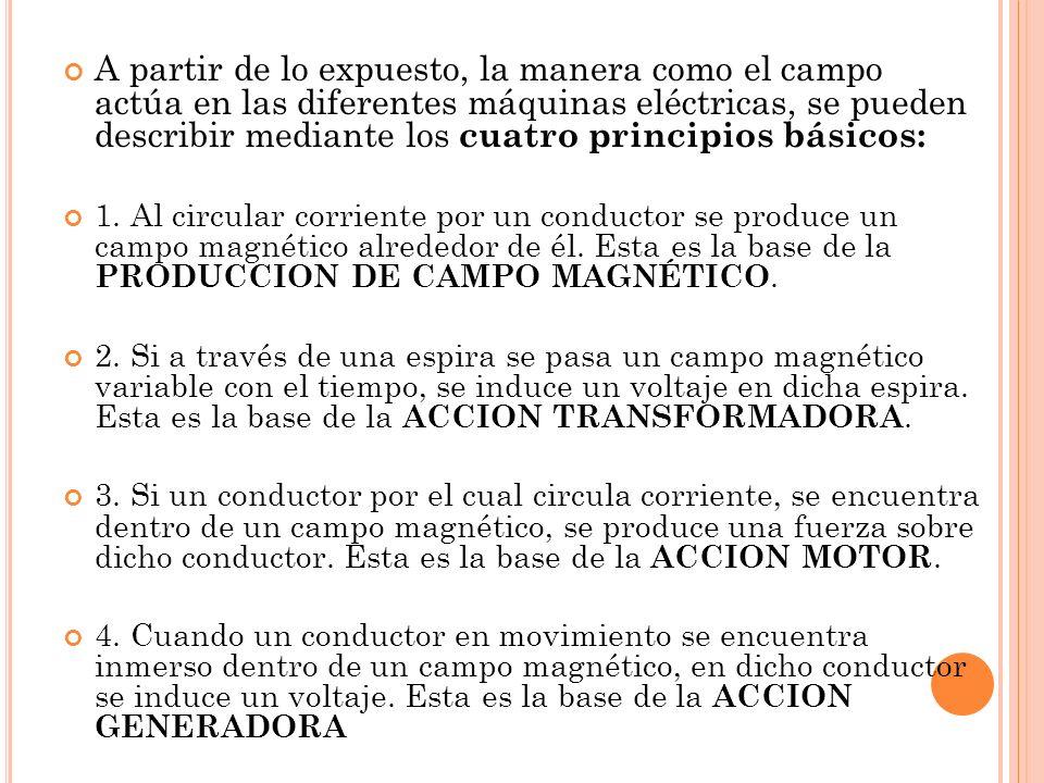 A partir de lo expuesto, la manera como el campo actúa en las diferentes máquinas eléctricas, se pueden describir mediante los cuatro principios básicos: