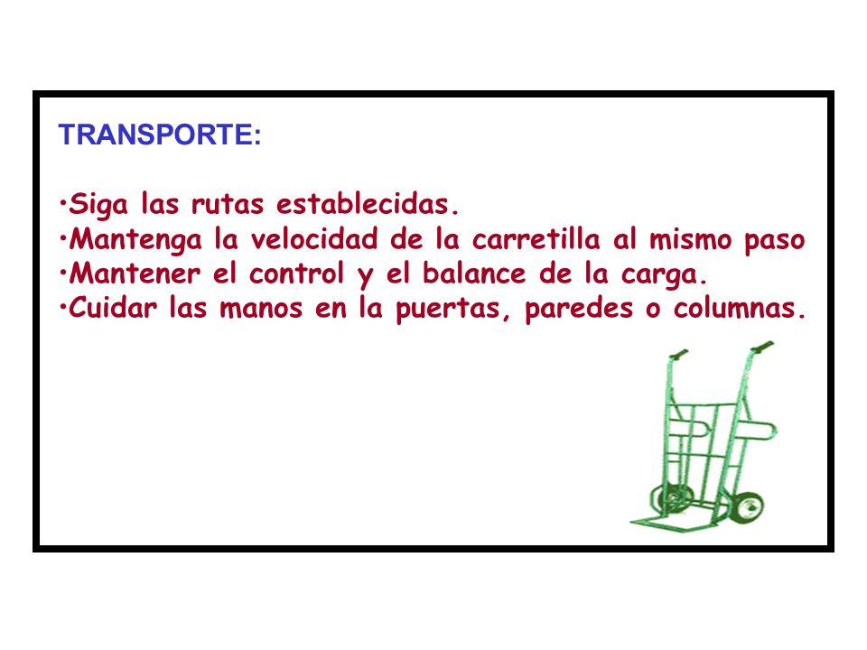 TRANSPORTE: Siga las rutas establecidas. Mantenga la velocidad de la carretilla al mismo paso. Mantener el control y el balance de la carga.