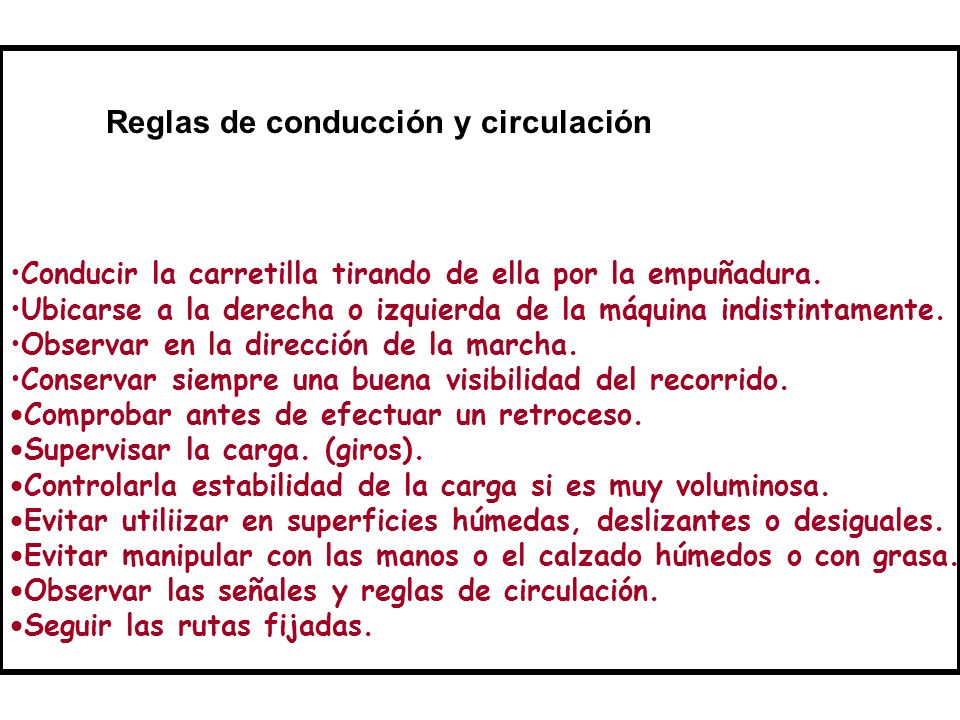 Reglas de conducción y circulación
