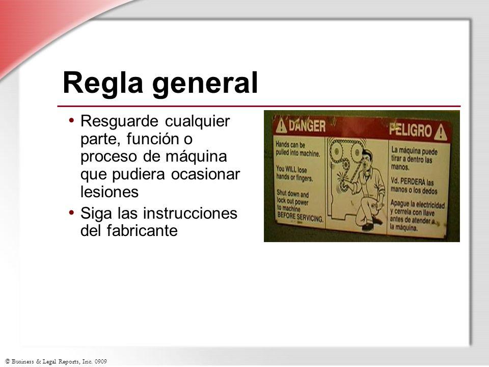 Regla general Resguarde cualquier parte, función o proceso de máquina que pudiera ocasionar lesiones.