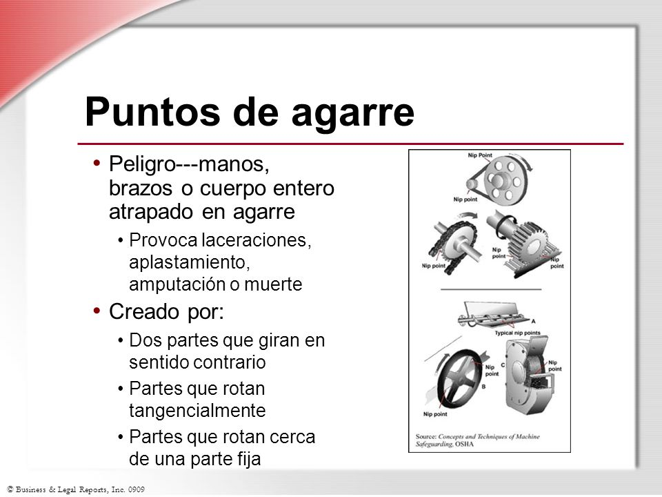Puntos de agarre Peligro---manos, brazos o cuerpo entero atrapado en agarre. Provoca laceraciones, aplastamiento, amputación o muerte.