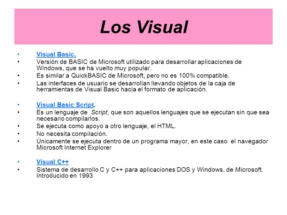 Los Visual Visual Basic.