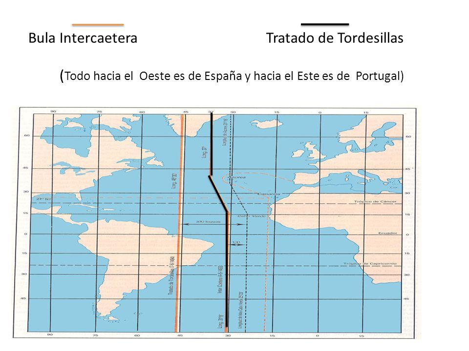 Bula Intercaetera Tratado de Tordesillas (Todo hacia el Oeste es de España y hacia el Este es de Portugal)