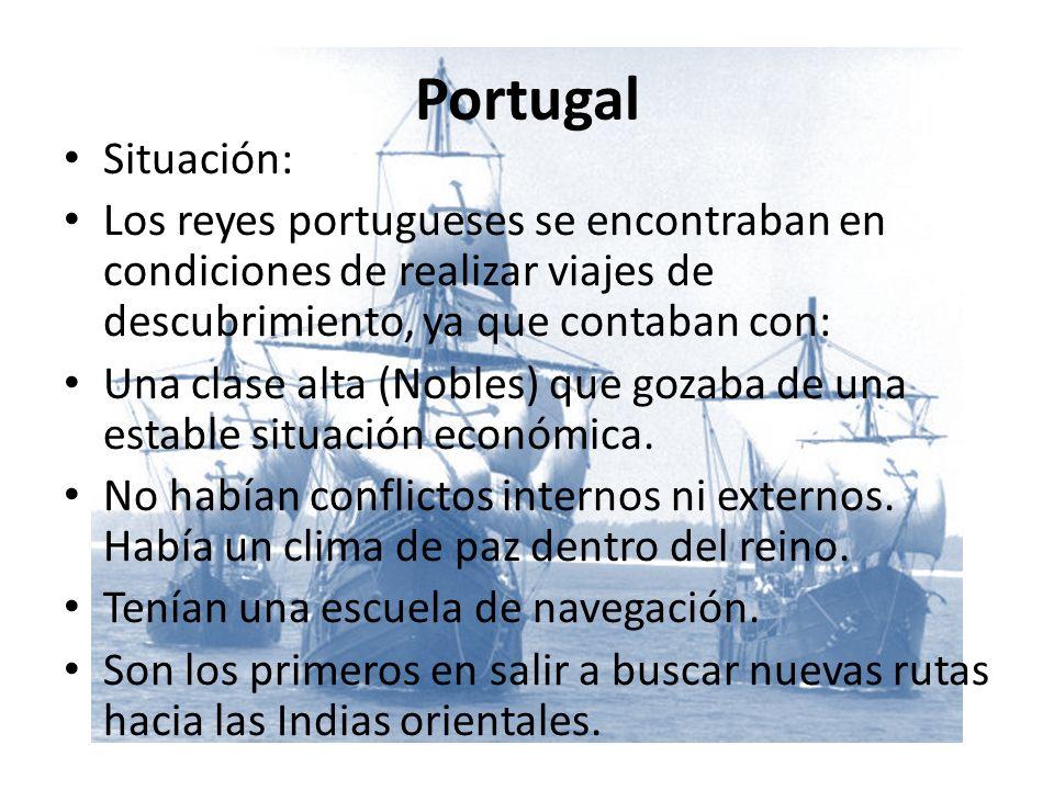 Portugal Situación: Los reyes portugueses se encontraban en condiciones de realizar viajes de descubrimiento, ya que contaban con: