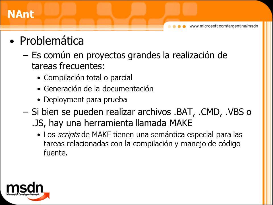 NAntProblemática. Es común en proyectos grandes la realización de tareas frecuentes: Compilación total o parcial.