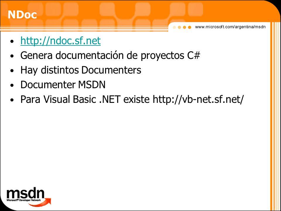 NDoc http://ndoc.sf.net Genera documentación de proyectos C#