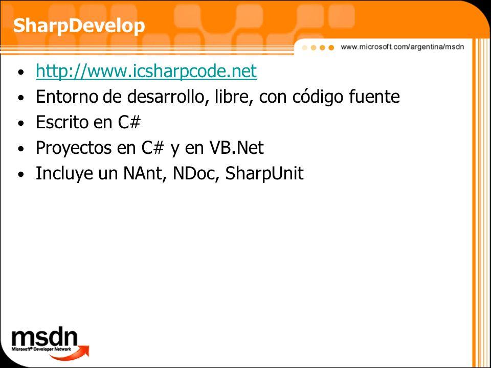 SharpDevelop http://www.icsharpcode.net