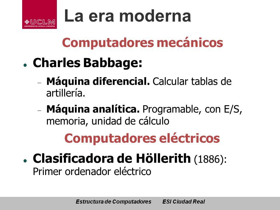 La era moderna Computadores mecánicos Charles Babbage: