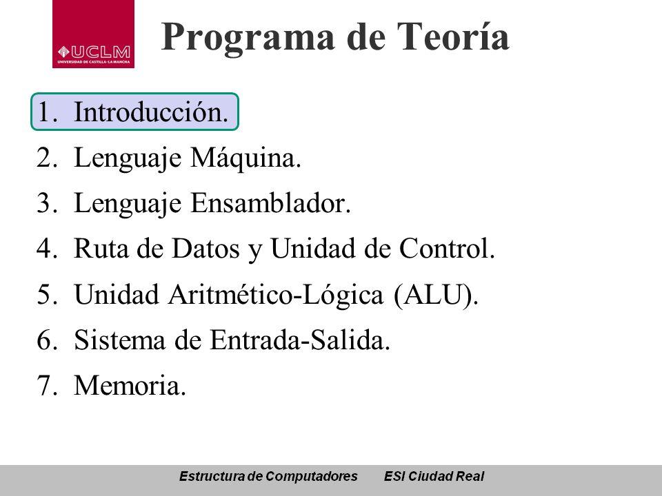 Programa de Teoría Introducción. Lenguaje Máquina.