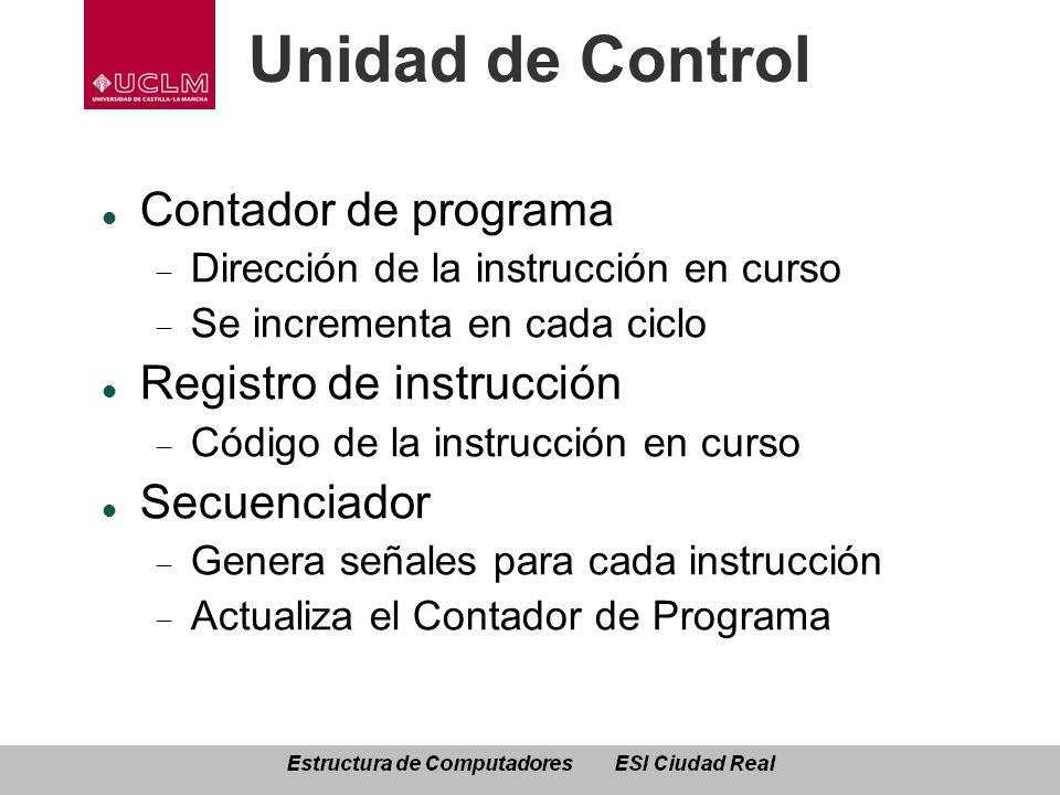 Unidad de Control Contador de programa Registro de instrucción