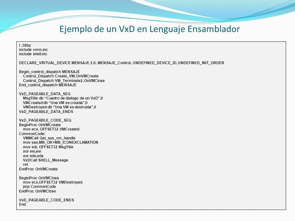 Ejemplo de un VxD en Lenguaje Ensamblador