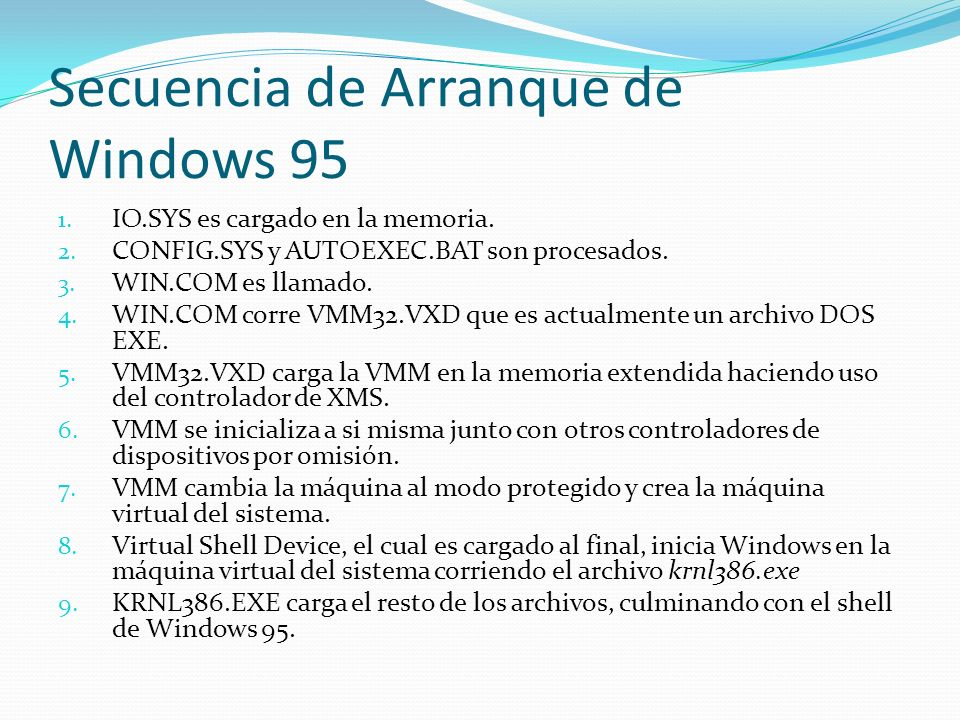 Secuencia de Arranque de Windows 95