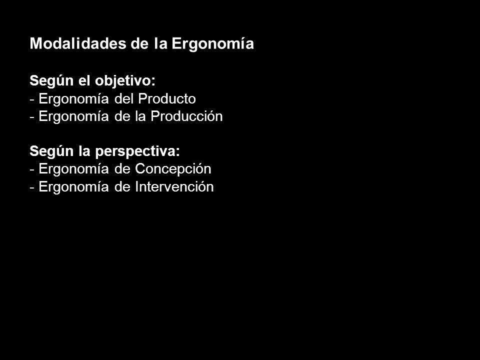 Modalidades de la Ergonomía Según el objetivo: - Ergonomía del Producto - Ergonomía de la Producción Según la perspectiva: - Ergonomía de Concepción - Ergonomía de Intervención