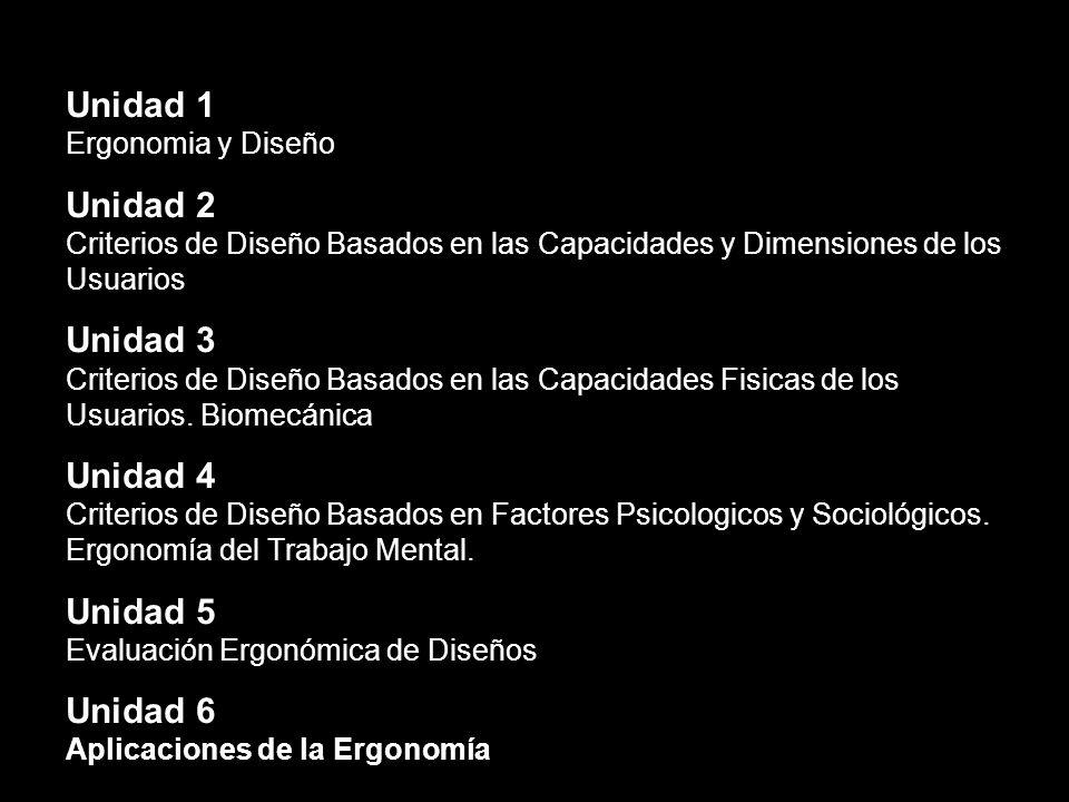 Unidad 1 Ergonomia y Diseño Unidad 2 Criterios de Diseño Basados en las Capacidades y Dimensiones de los Usuarios Unidad 3 Criterios de Diseño Basados en las Capacidades Fisicas de los Usuarios.