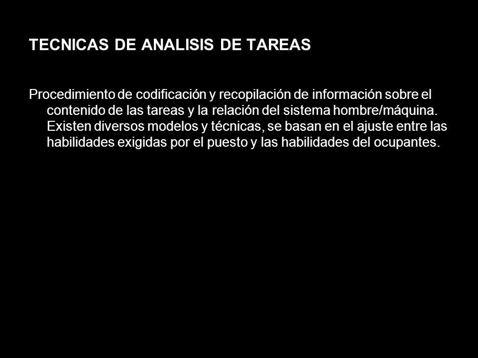 TECNICAS DE ANALISIS DE TAREAS