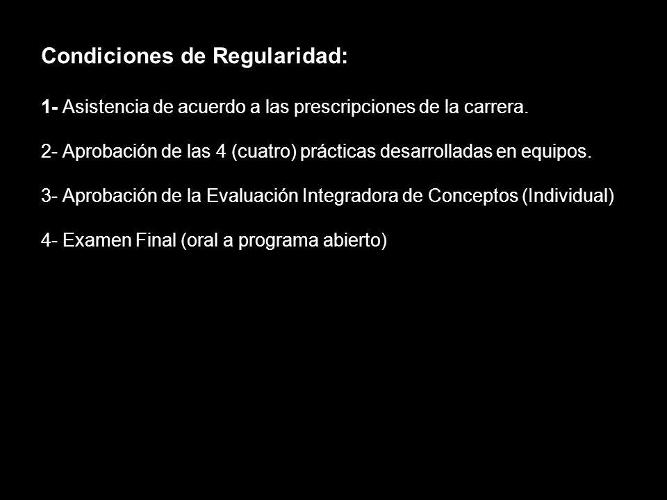 Condiciones de Regularidad: 1- Asistencia de acuerdo a las prescripciones de la carrera.