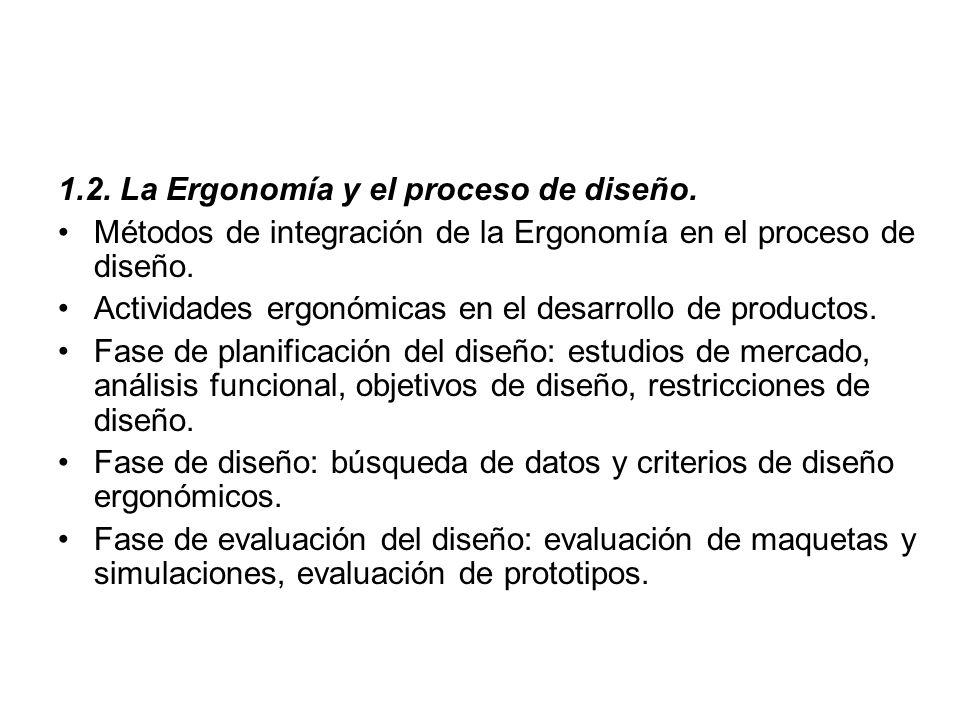 1.2. La Ergonomía y el proceso de diseño.
