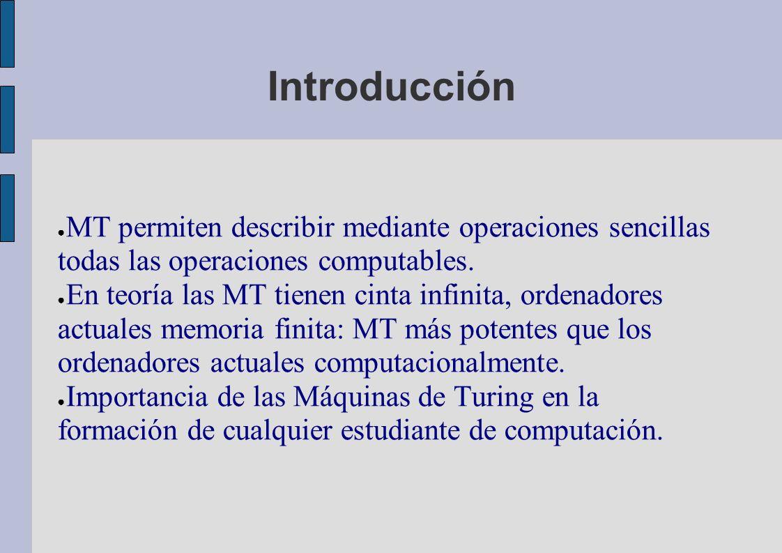 Introducción MT permiten describir mediante operaciones sencillas todas las operaciones computables.