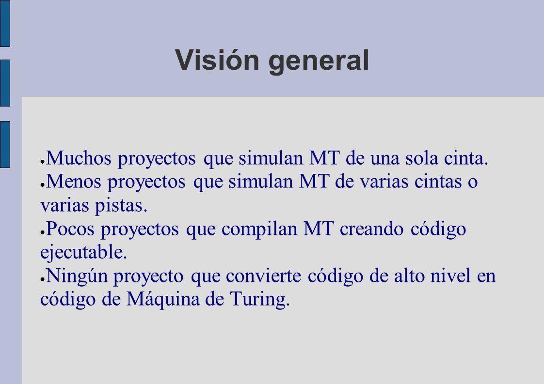 Visión general Muchos proyectos que simulan MT de una sola cinta.