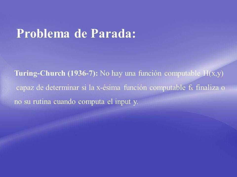 Problema de Parada: Turing-Church (1936-7): No hay una función computable H(x,y) capaz de determinar si la x-ésima función computable fx finaliza o.