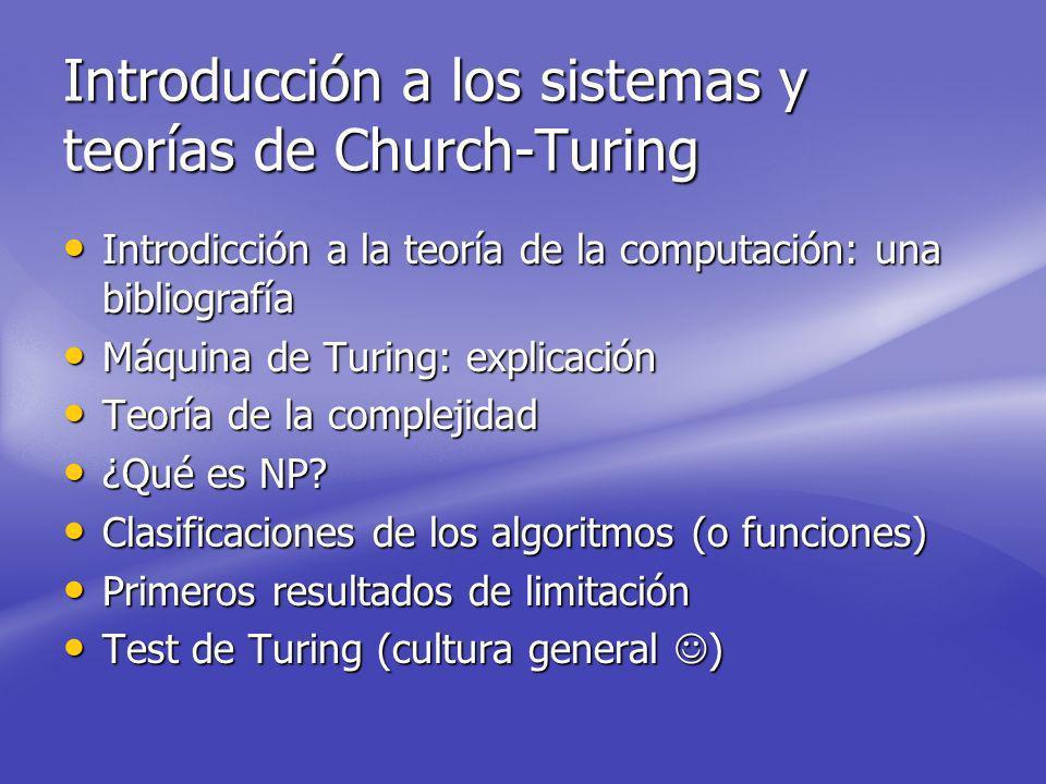 Introducción a los sistemas y teorías de Church-Turing