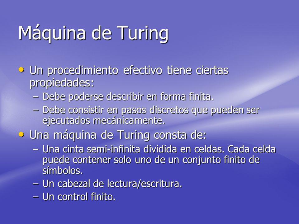 Máquina de Turing Un procedimiento efectivo tiene ciertas propiedades: